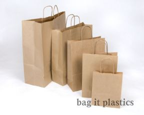 "WHITE & BROWN RIBBED TWIST HANDLE PAPER CARRIER BAGS 9"" x 4¼"" x 12½""   /  23cm x 10cm x 32cm"
